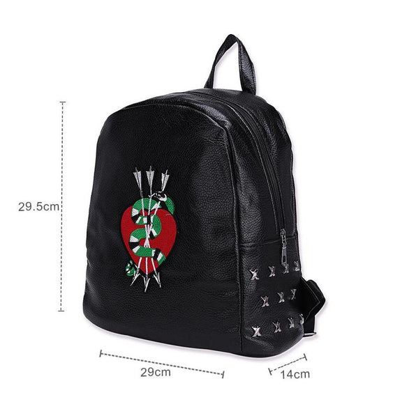 Snake and Arrows Faux Leather Backpack
