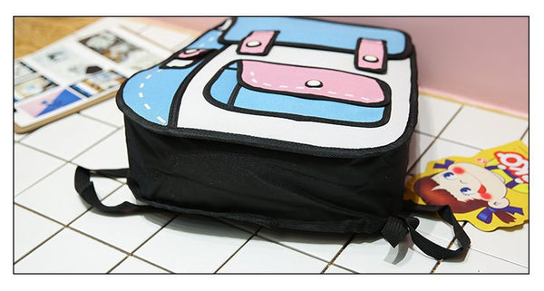 2D Cartoon Flap Backpack
