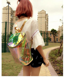 Transparent Holographic Bucket Backpack