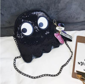Sequin Pac Man Ghost Shoulder Bag