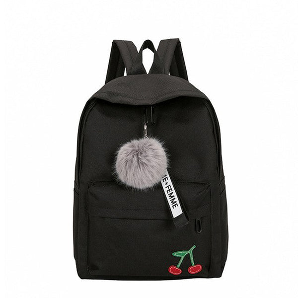 Simple Nylon Backpack with Pom Pom