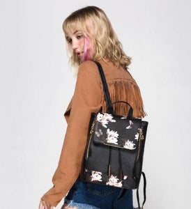 Single Flap Faux Leather Knapsack