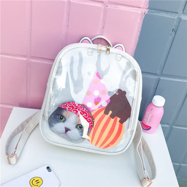 Transparent Cat Ears Itabag Backpack