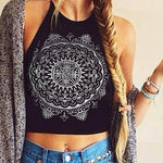 Women's Summer Cool Fashion Mandala Print Halter Neck Round Neck Vest Crop Top-moflily
