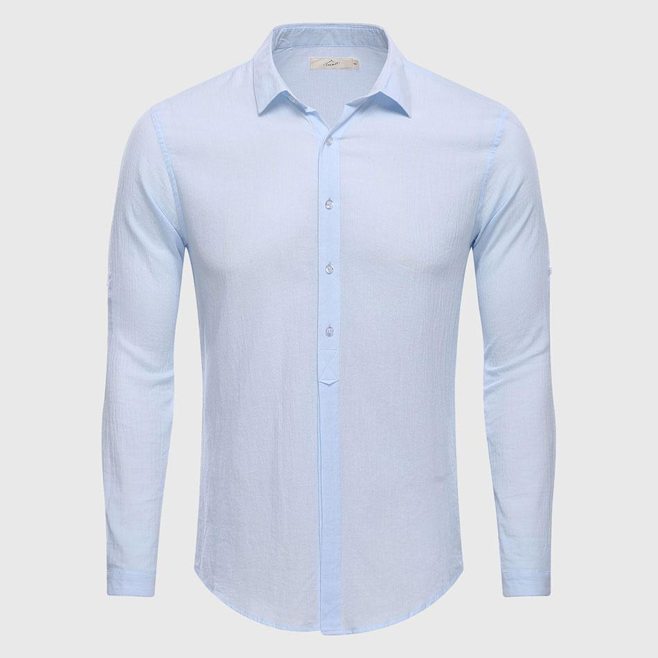 Cotton Linen Casual Shirt Hawaii Aloha Solid Summer Slim Fit Men Shirt-moflily