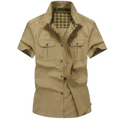 LILL | Plus Size 100% Pure Cotton Comfortable Male Casual Shirt Men Army AFS JEEP Shirts Short Sleeve Military Shirt,UMA173-moflily
