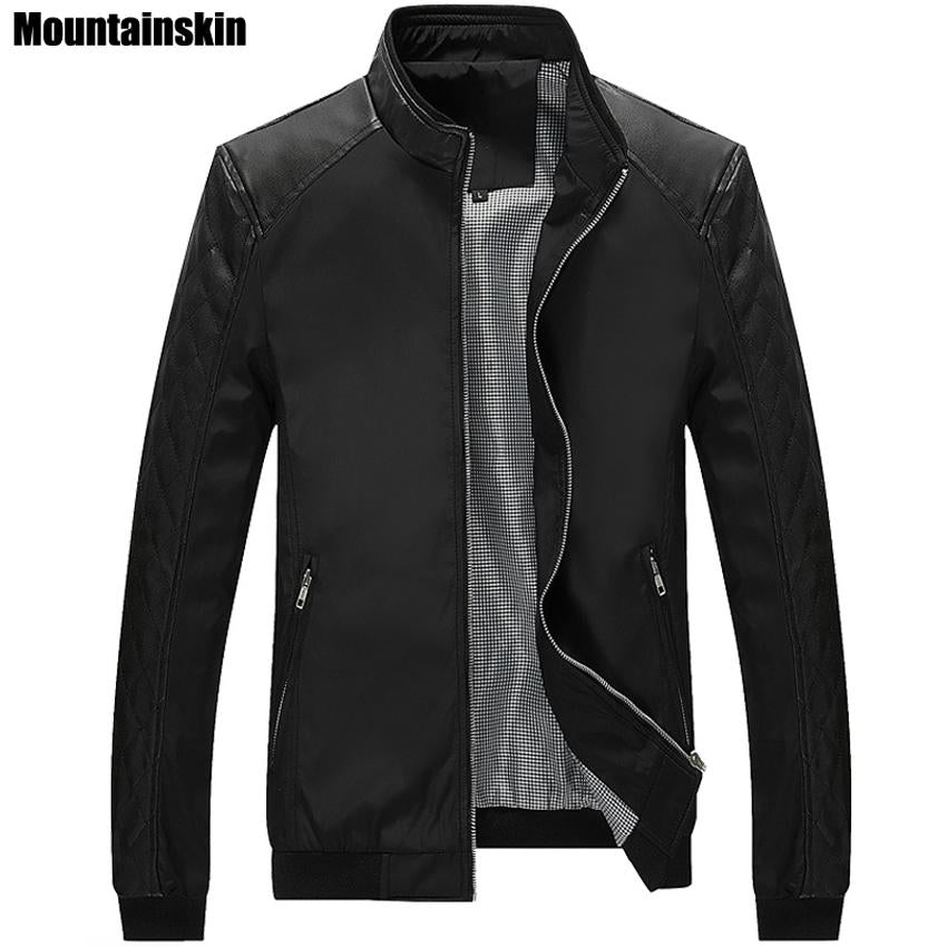 Mountainskin 5XL Spring New Men's PU Patchwork Jackets Casual Men's Thin Jackets Solid Slim Male Coats Brand Clothing,SA167-moflily