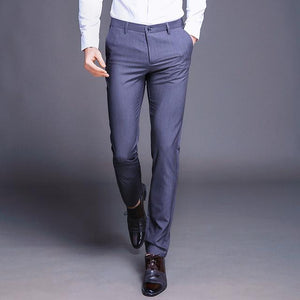 Fashion New High Quality Cotton Men Pants Straight Spring and Summer Long Male Classic Business Casual Trousers Full Length Mid-moflily