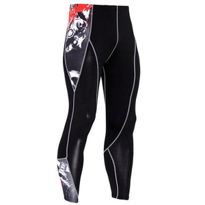 2017 New Fashion Mens Compression Pants 3D Print Quick Dry Skinny Leggings Tights Fitness MMA Pants Stitching Tousers-moflily
