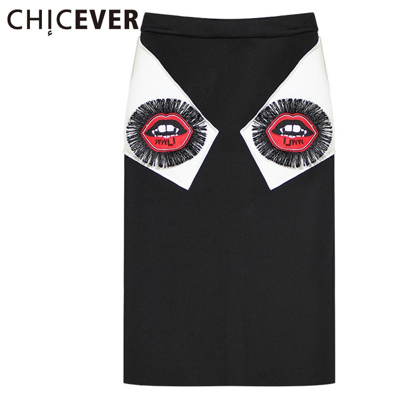 [CHICEVER] 2017 Spring Women Embroidery Mouth Casual Tassel Skirts Female Design Patchwork Hit Color Package Hip Clothes Fashion-moflily