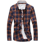 2017 New Men Plaid Shirt Spring Turn-down Collar Casual Social Shirts Mens Cotton Slim Fit shirts Plus Size 4XL 5XL Clothes X407-moflily