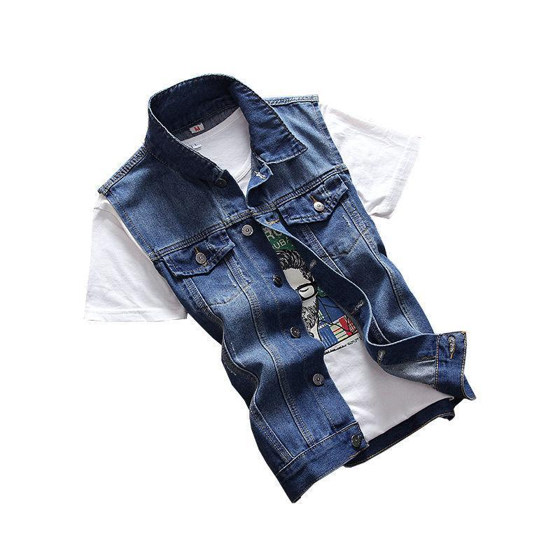 VERSMA Blue Jeans Vest Mens Waistcoats Vests of Men Denim Sleeveless Jacket Men Vest Denim Motorcycle Vest Men Jacket Coat XXXL-moflily
