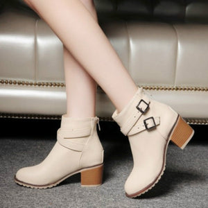 Autumn and winter women vintage Europe star fashion women high heels Ankle boots Snow short boots zipper plus size 34-43 0839W-moflily