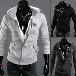 Men's Fashion Casual Long Sleeve Slim Zipper Cardigan Hooded Hoodie Jacket Coat-moflily
