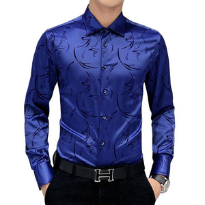 Mwxsd brand Men's printed Tuxedo Shirts Wedding Party Dress Long Sleeve Shirt Silk Tuxedo Mercerized shirt Plus Size 4xl 5XL-moflily