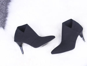 Hot Sale Europe And America Pointed Toe High-Heeled Women's Boots Autumn And Winter Fitted Women Female Single Shoes-moflily