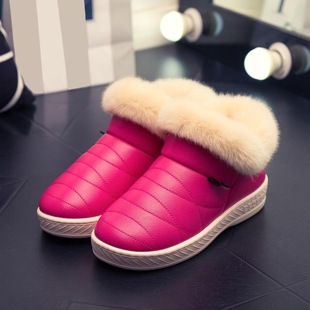 Women Cotton Boots Waterproof Winter Warm Fur Ankle Boots Couple Thick Soled Warm Shoes Woman Flats Botas Mujer Zapatos-moflily