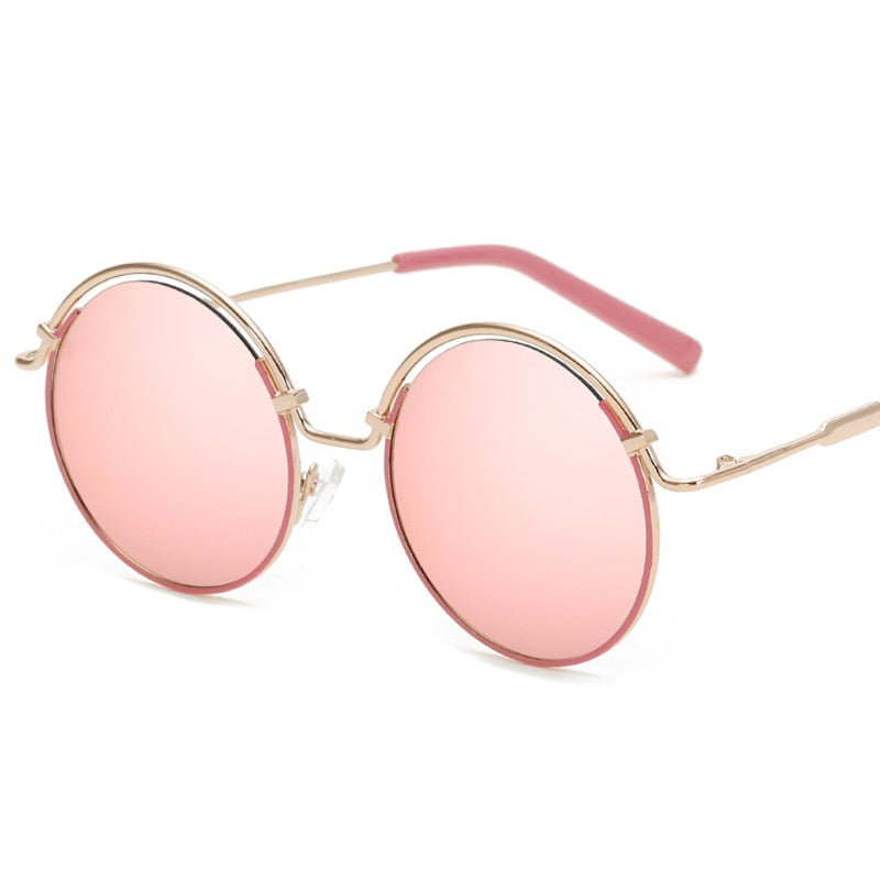 F.J4Z Top Trendy Lady's Sunglasses Fashion Candy Color Coating Mirrors Round Alloy Frame Sun Glasses Shades UV 400-moflily