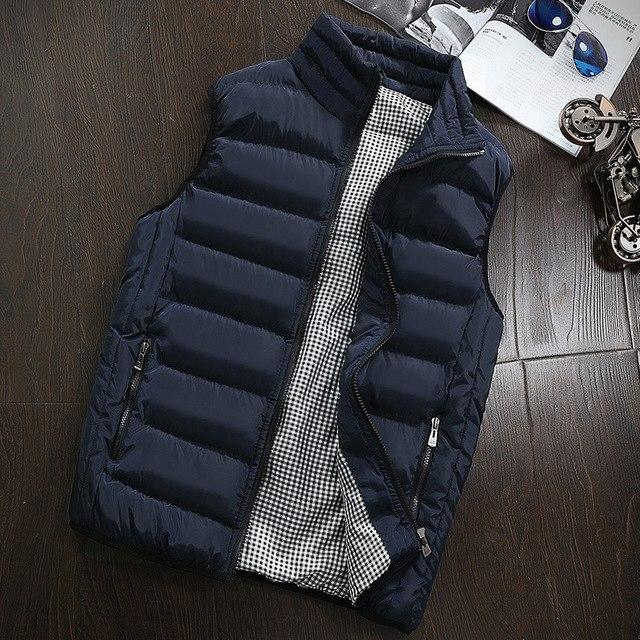 The fall of men's fashion collar collar vest sleeveless sweater cotton coat leisure slim men's winter Vest Size-moflily