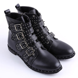 2018 Fashion Women Studded Ankle Boots Winter PU Leather High Top Flat Brand Casual Shoes Martin Boots Ladies Black Boots-moflily