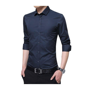 2018 Men Long Sleeve Shirts Formal Solid Mens Dress Shirts Plus Size Man Shirts Slim Casual Male Brand Business Shirts YN10187-moflily
