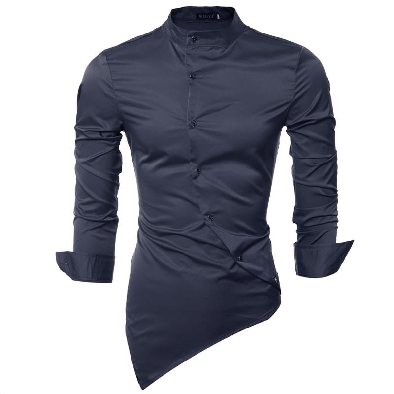 Men Shirt Luxury Brand 2018 Male Long Sleeve Shirts Casual Mens Personality Oblique Single-Breasted Slim Fit Dress Shirts Mens-moflily
