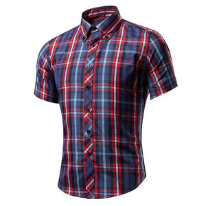 2017 Short Sleeve Plaid Shirt Men Slim Fit Cotton Mens Casual Shirts Social Business Man Camisa Hombre Male Camisasta masculina-moflily