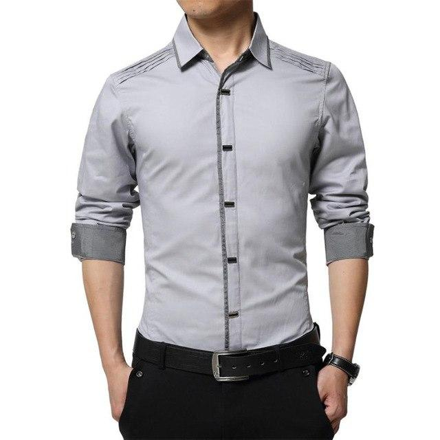 2018 Spring Autumn Cotton Dress Shirts High Quality Mens Casual Casual Men Slim Fit Social Shirts Plus Size-moflily