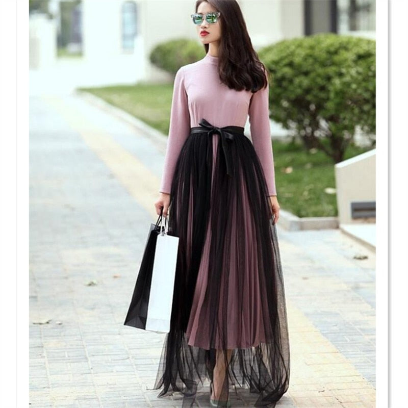 WBCTW 7XL Wrap Skirt High Waist Black Solid PU Pacthwork Elegant Open Slide Fashion Women Long Skirts Summer Spring Tulle Skirt-moflily