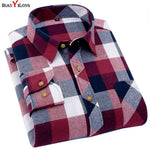 Men's Plaid Flannel Shirt Slim Fit Soft Spring Male Shirt Brand Men's Business Casual Long-sleeved Shirts Plus Size 5XL 6XL-moflily