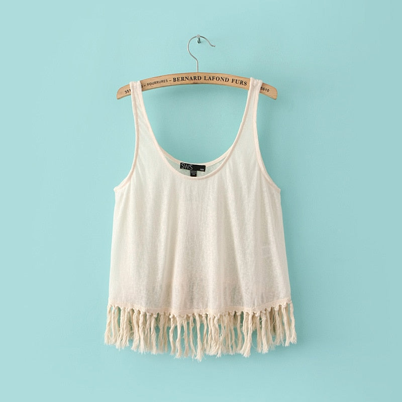 Miss Angela Cotton Tassel Cami Tank Tops Women's Casual Summer Tops Female Sleeveless Crop Top Tees Basic Beige Pink 2018 New-moflily