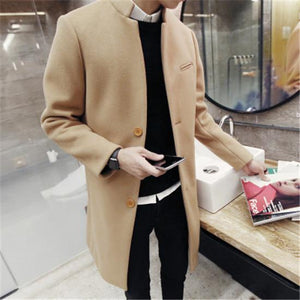 2018 autumn/winter fashion new men leisure pure color trench coat / man's single-breasted long windbreaker Wool Blends-moflily