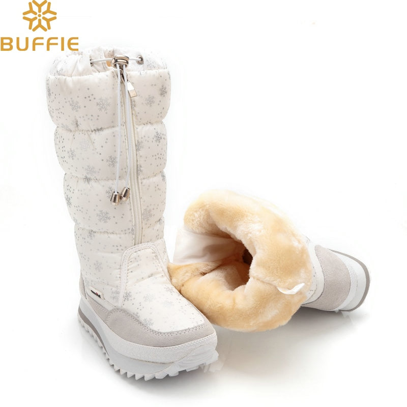 2018 Winter boots High Women Snow Boots plush Warm shoes Plus size 35 to big 42 easy wear girl white zip shoes female hot boots-moflily