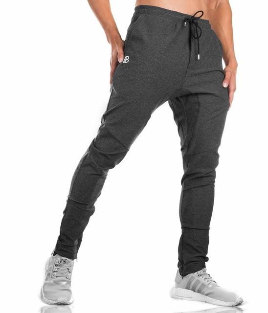 Men's Men's Trousers 2018 Fall Men's Trousers Men's Pants Fitness Sweatpants gyms Joggers Pants Workout Casual Pants Black Pants-moflily