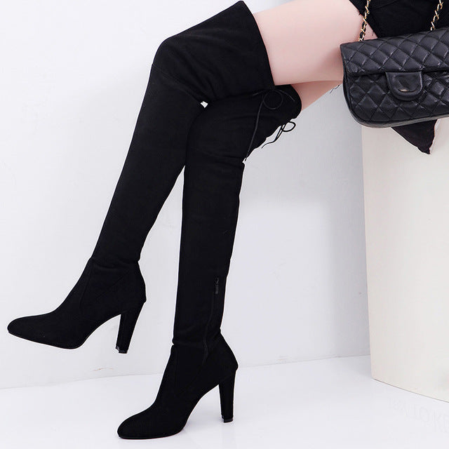 Senouer Winter Women Boots Over The Knee Shoes Zipper Tall Canister High Heels Pumps Plus Velvet Shoe With Fur Big Size 41 42 43-moflily