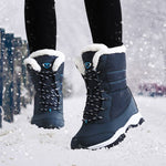 Women boots non-slip waterproof winter ankle snow boots women platform winter shoes with thick fur botas mujer-moflily