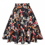 SISHION Black Skirt 2018 New Summer Western Girl Print Sexy Elegant 50s 60s Retro Vintage Women Skirts Plus Size VD0020-moflily