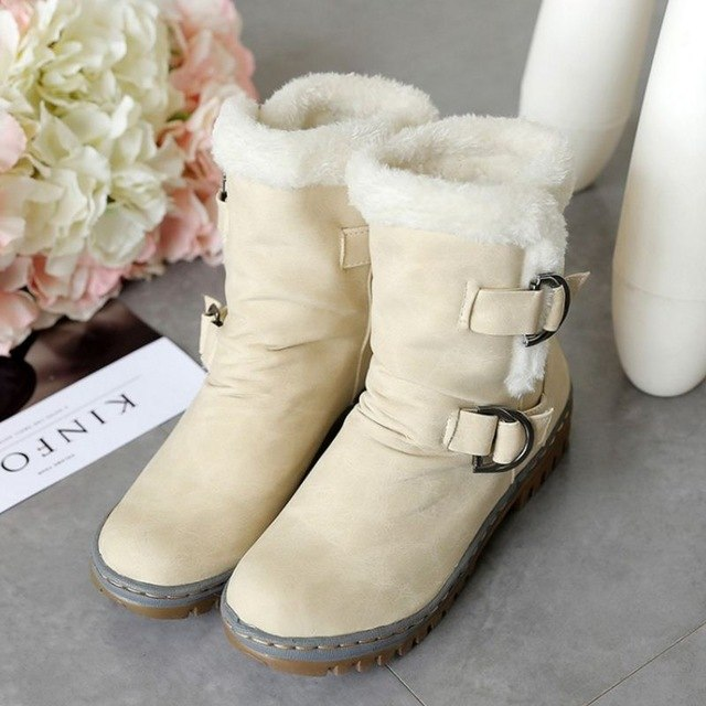 LANSHITINA Women Half Boots Winter Short Boot Warm Shoe Flat Botas Mujer Snow Boots Buckle Fashion Round Toe Shoes Boots Y48-moflily