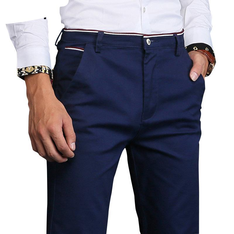2018 new fashion Mens Casual Pants high quality Brand Work Pants male Clothing Cotton Formal Trousers men size 36 38-moflily