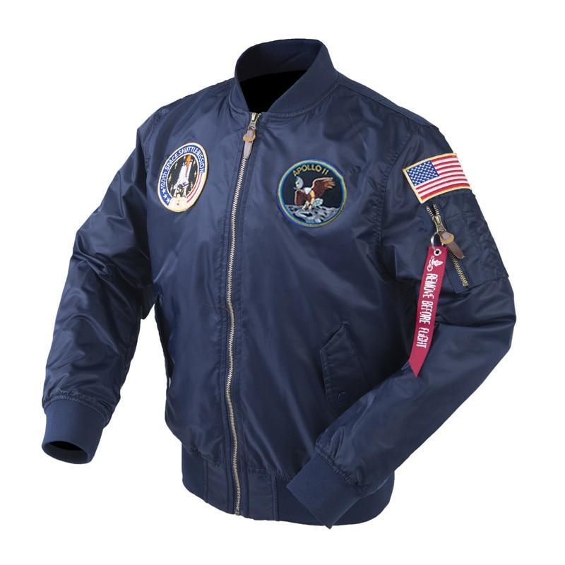 Autumn Apollo Thin 100th SPACE SHUTTLE MISSION Thin MA1 Bomber Hiphop US Air Force Pilot Flight Korean College Jacket For Men-moflily