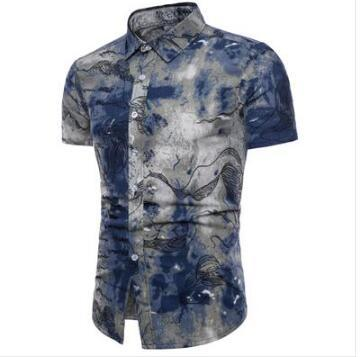 2018 Spring Men's shirt Floral printing short sleeve shirts men clothes flowers printed shirts vintage Linen Casual Male Shirt-moflily