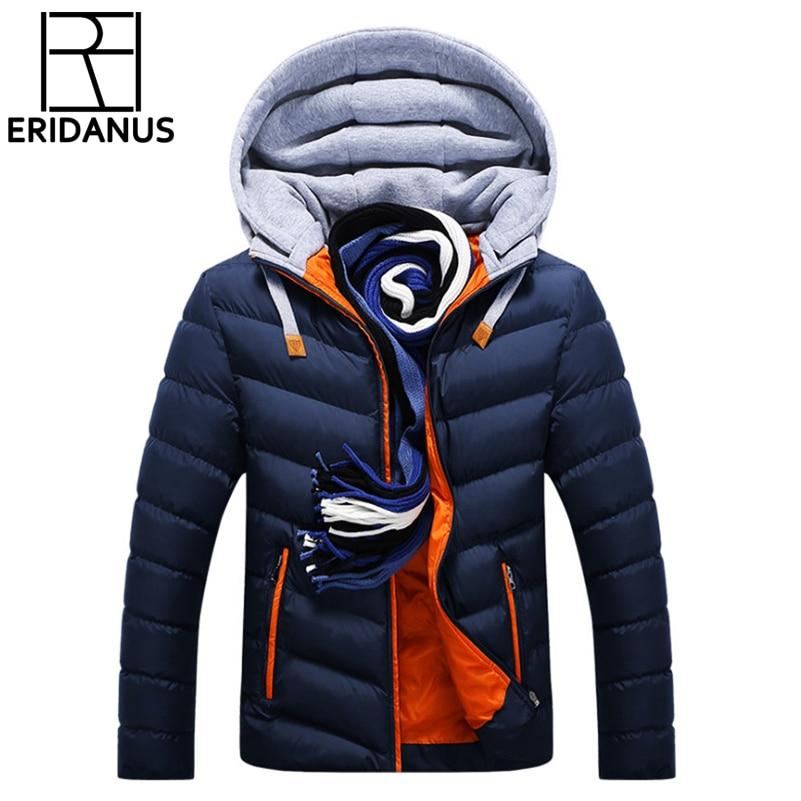 Winter Jacket Men Hat Detachable Warm Coat Cotton-Padded Outwear Mens Coats Jackets Hooded Collar Slim Clothes Thick Parkas X327-moflily