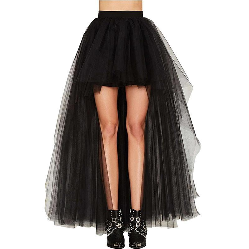 TOPMELON Women's Punk Skirt Female Gothic Tulle Skirt Summer Steampunk Long Skirt Ball Gown Black Mesh Shows Dance Party Skirts-moflily