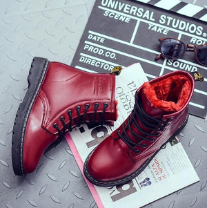 low cost ac2c6 e1160 Student hairy flat bottom short boots women winter thickening Martin boots  white red black round head tie PU flat heel boots