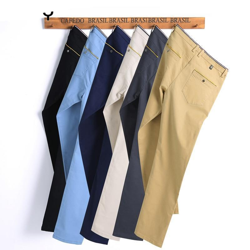 Men pants 2018 New Design Casual hombres pantalones 98% Cotton Slim Pant Straight Trousers Fashion Business Pants Men Plus Size-moflily