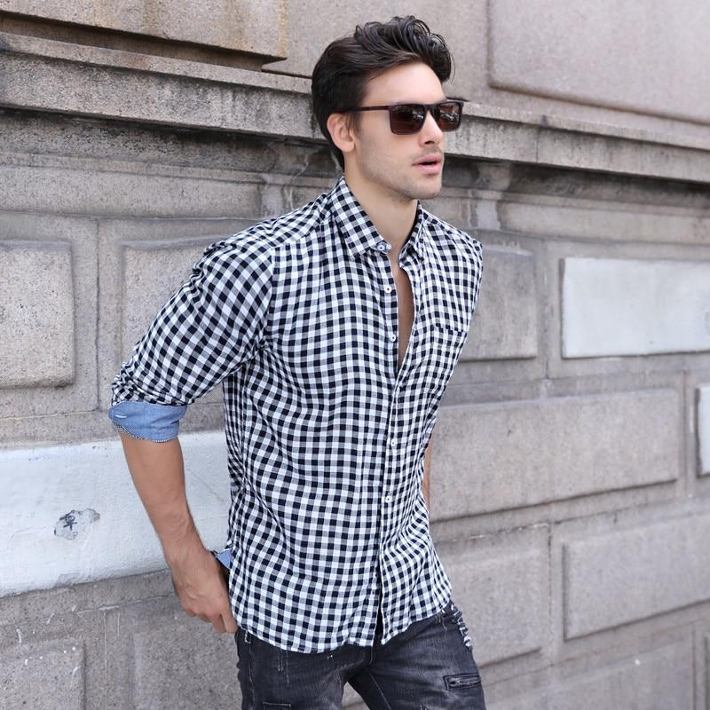 2018 Autumn Fashion Men Shirt Long Sleeves Soft Feel Plaid Solid Color Mens Dress Shirts Slim Men Casual Male Shirts S-XXL-moflily