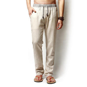 Men Pants Linen Drawstring Flax Pants Straight Full Length solid Linen Cotton Home Men's Trousers Fashion Pants Linen Size M-3XL-moflily
