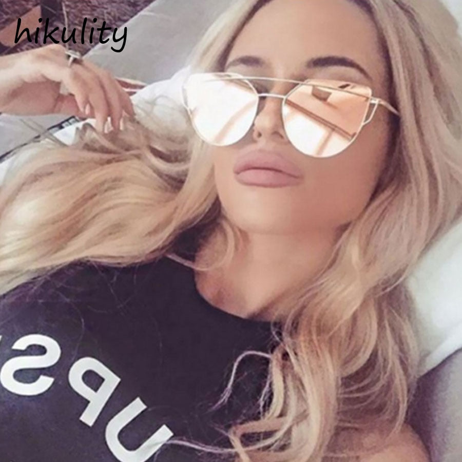 Luxury Cat Eye Sunglasses Women Brand Designer Ladies Shades Pink Mirror Sun Glasses Female Vintage Cateye Glasses for Women-moflily