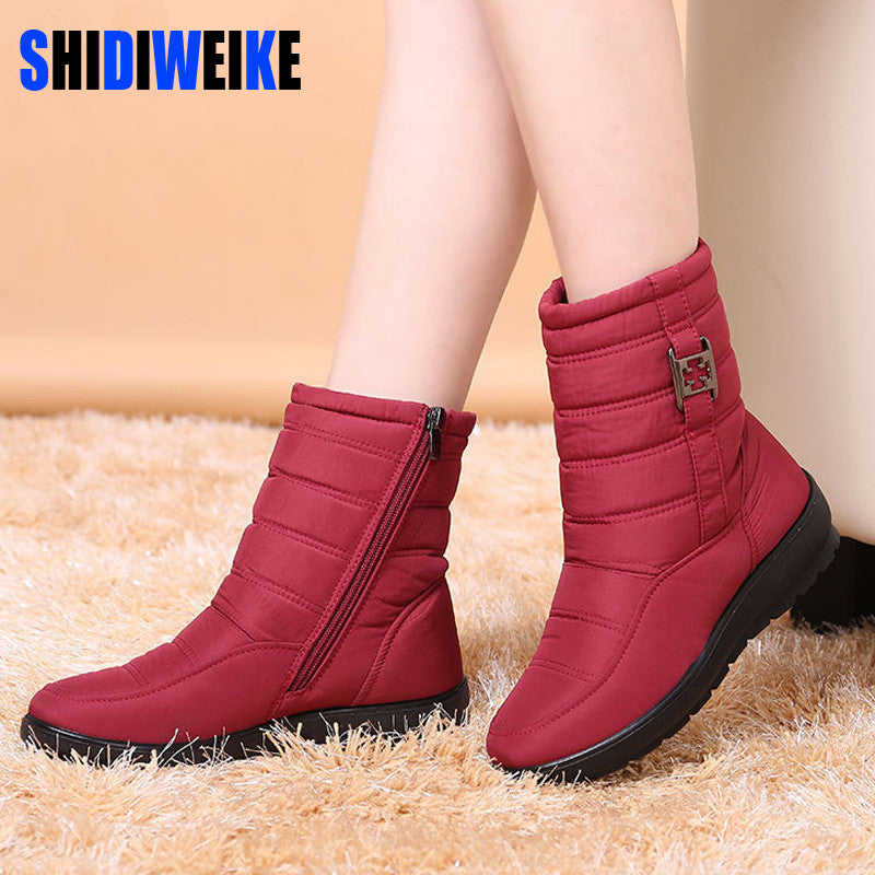 SHIDIWEI Snow Boots 2018 Brand Women Winter Boots Mother Shoes Antiskid Waterproof Flexible Women Fashion Casual Boots Plus Size-moflily