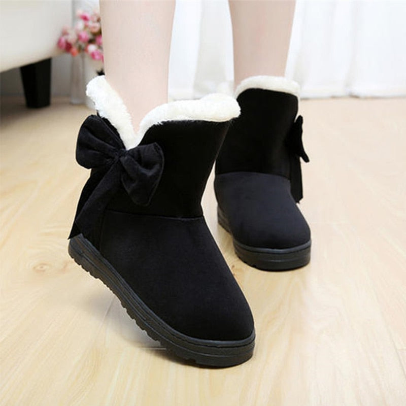 Cotton flat women snow boots shoes bow plush fur fashion winter ankle boots for women warm comfortable shoes female 2018 TVS905-moflily